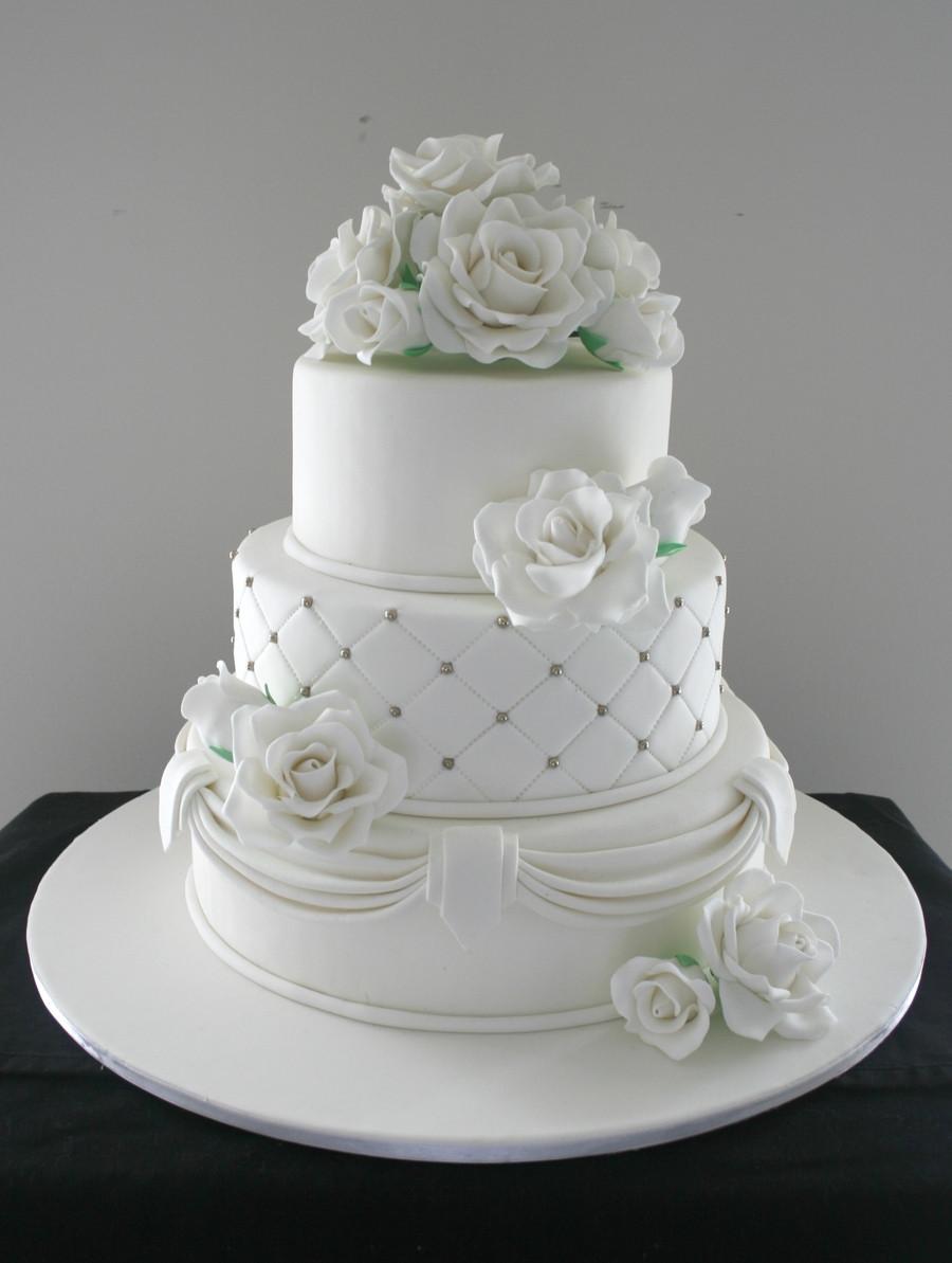Wedding Cakes 3 Tier  Three Tier Wedding Cake CakeCentral