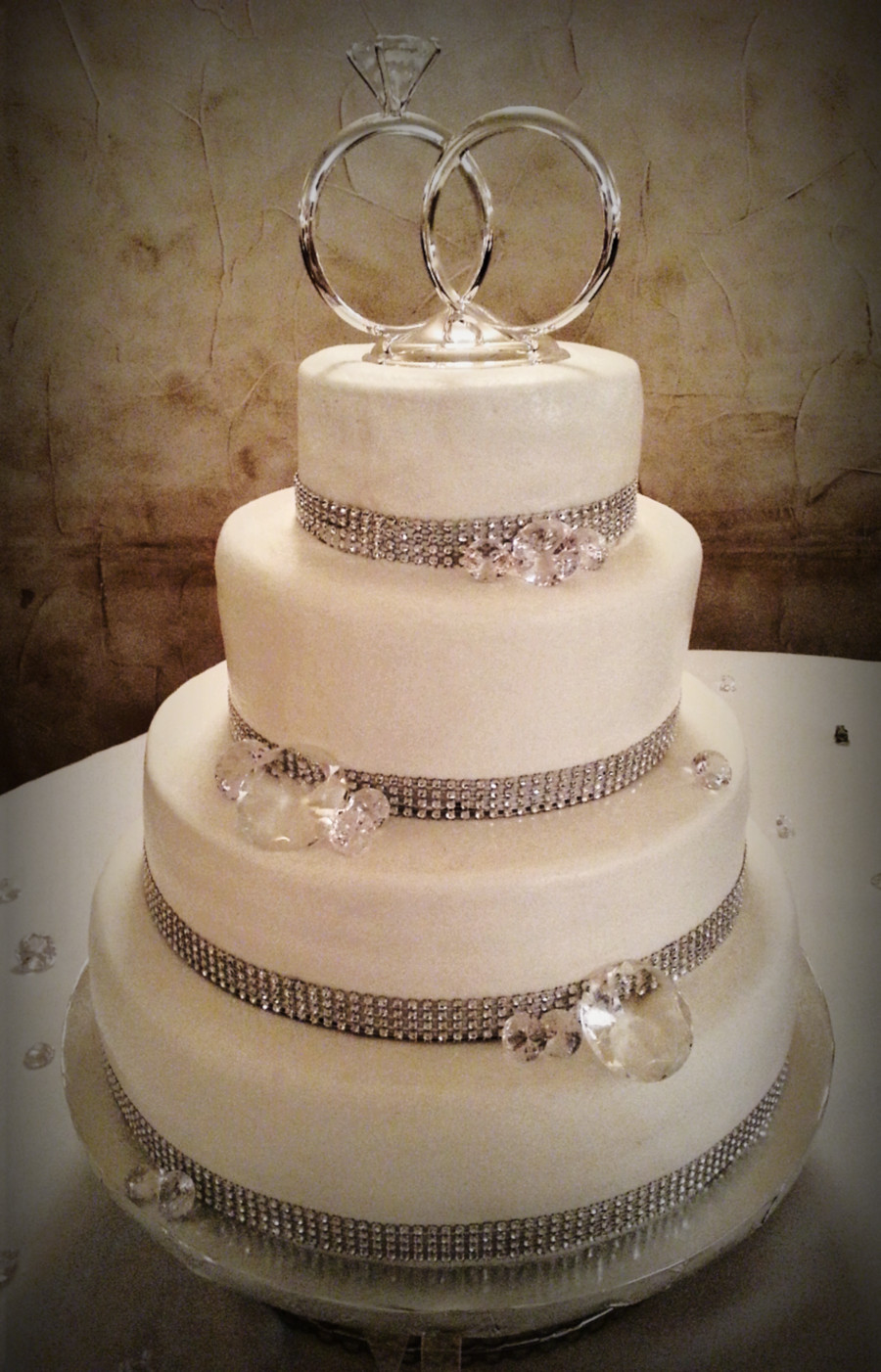 Wedding Cakes 4 Tier  Simple Amp Chic Bling Themed Four 4 Tier Wedding Cake 14