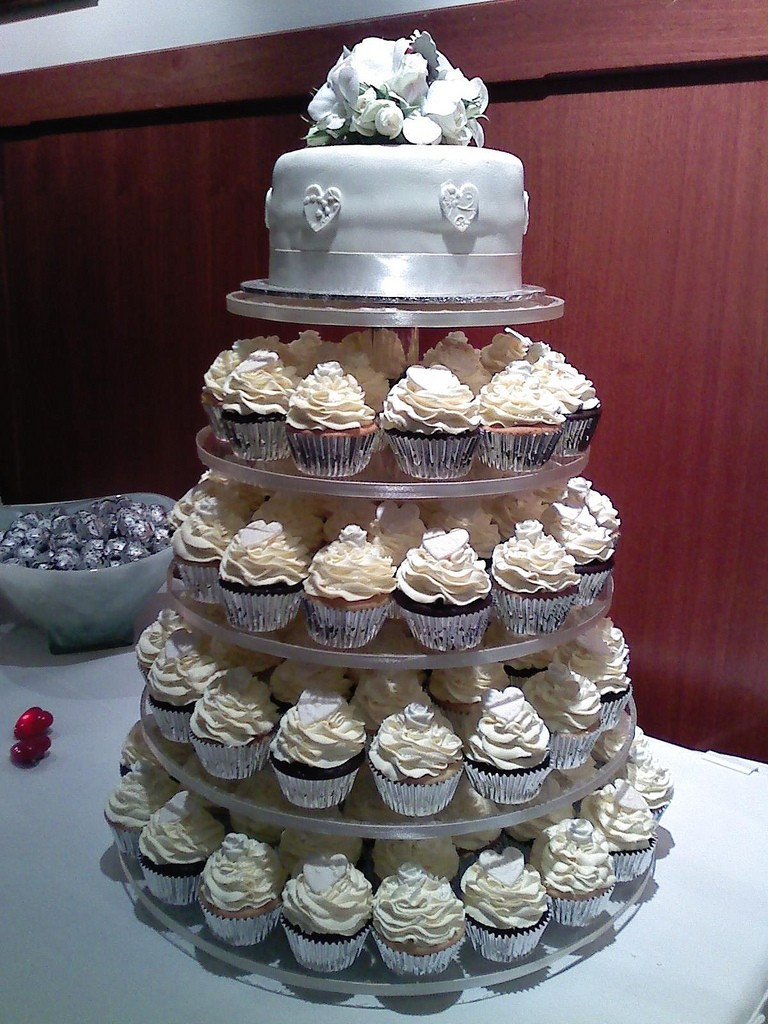 Wedding Cakes And Cup Cakes  White Wedding Cake Cupcakes Wedding and Bridal Inspiration