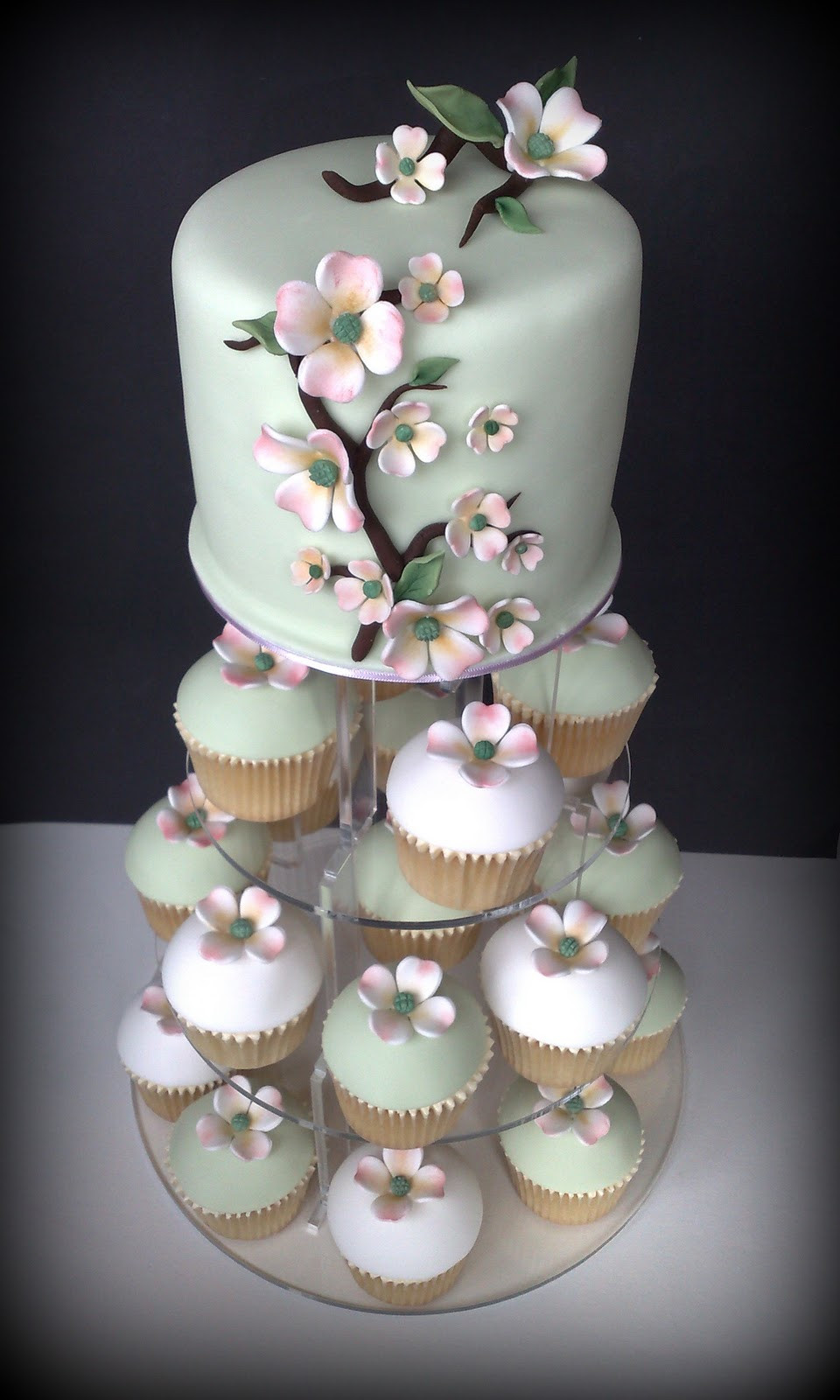 Wedding Cakes And Cupcakes  Small Things Iced Dogwood Wedding Cupcakes & Cutting Cake