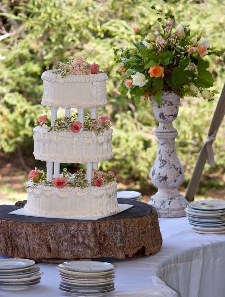 Wedding Cakes Asheville  Vintage outdoor wedding cake Asheville NC • Just Simply