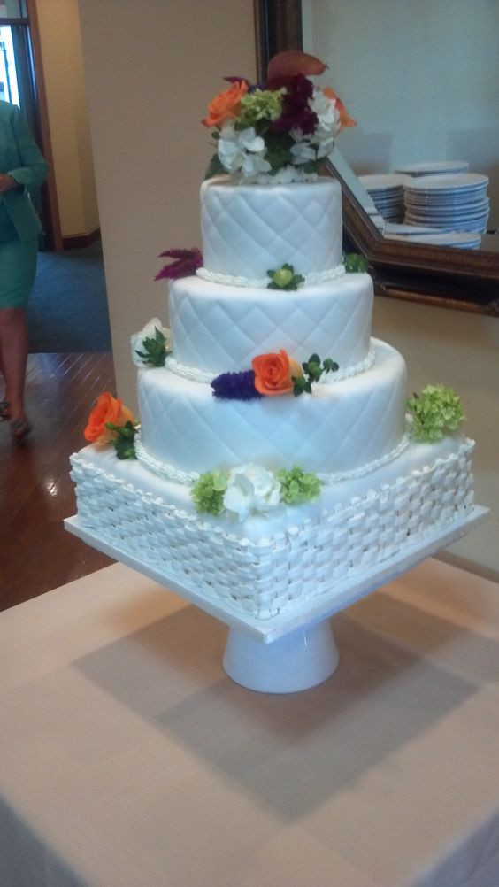 Wedding Cakes Asheville  Buttercream basketweave pattern and fondant quilt pattern