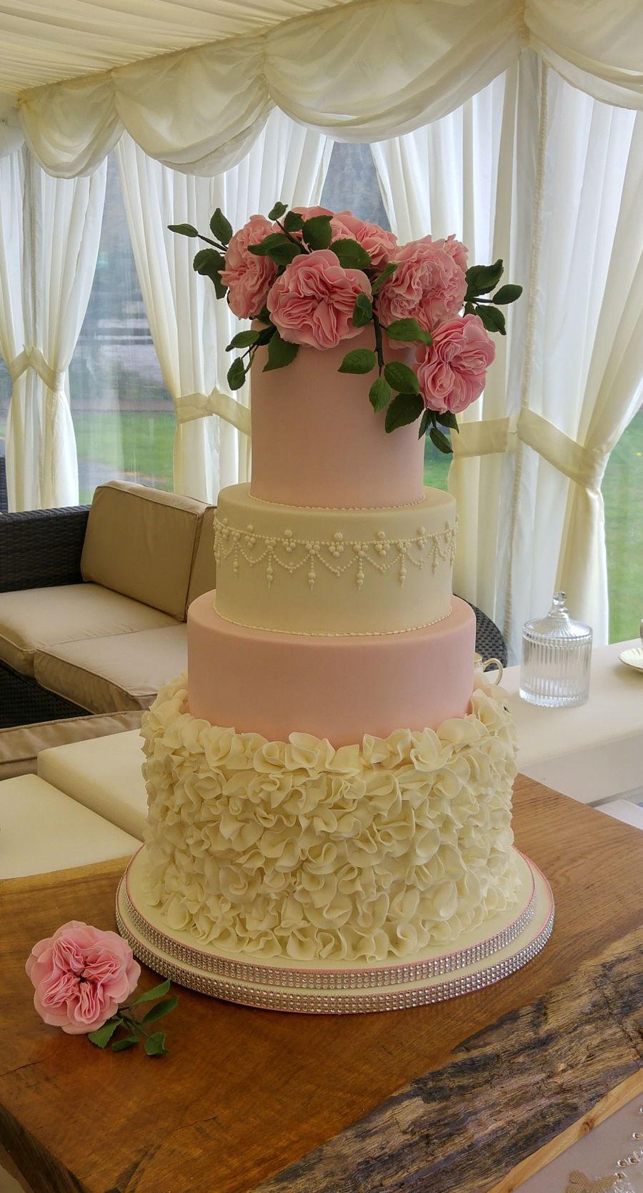 Wedding Cakes Austin  Ruffles And David Austin Roses Wedding Cake CakeCentral