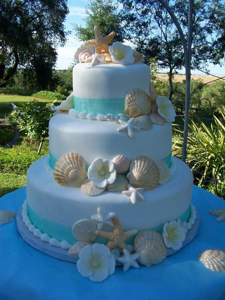 Wedding Cakes Beach Theme  Beach Theme Wedding Cake — Seashells Ocean Beach