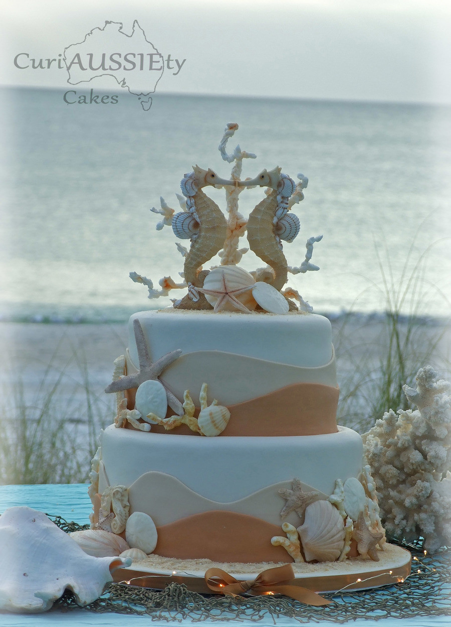 Wedding Cakes Beach Themed  sea Horse Beach Theme Wedding Cake CakeCentral