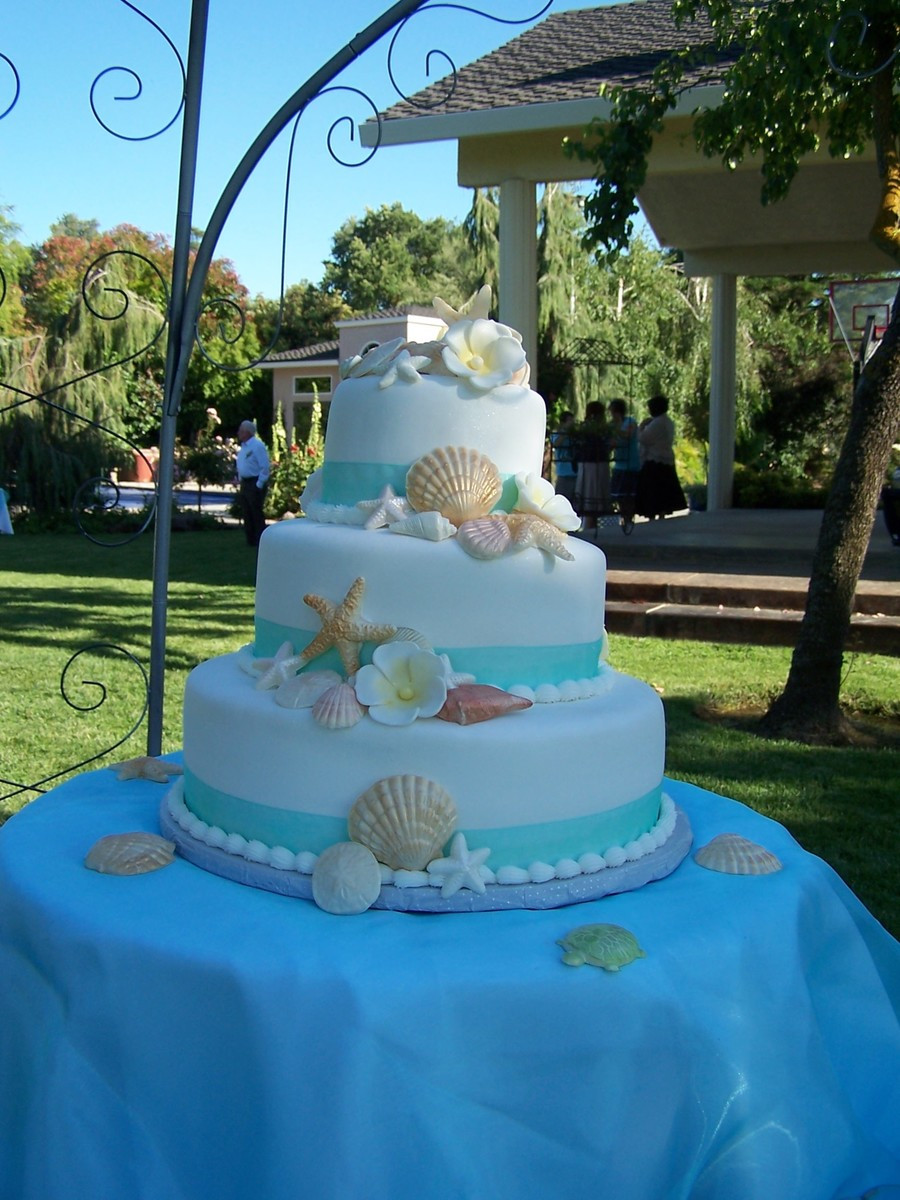 Wedding Cakes Beach Themed  Beach Theme Wedding Cake CakeCentral
