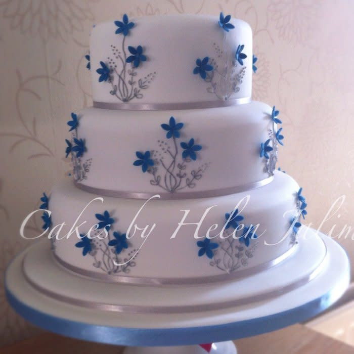 Wedding Cakes Blue And Silver  Blue ans silver wedding cake cake by Cakes by Helen