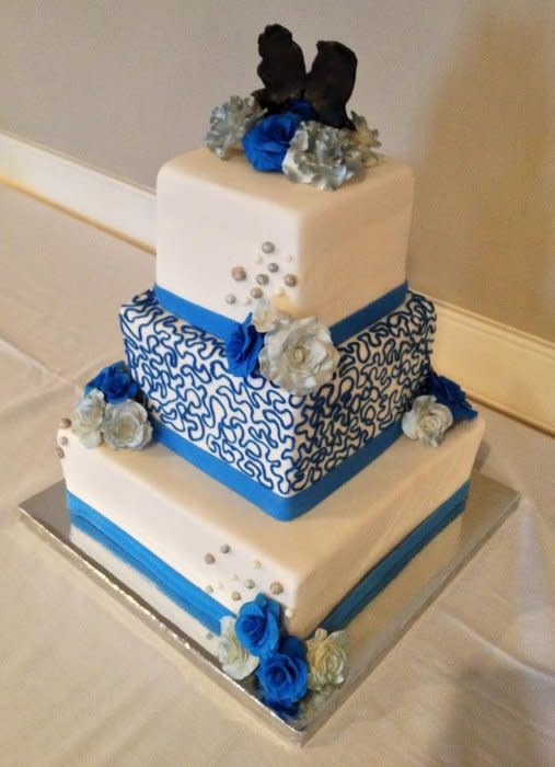 Wedding Cakes Blue And Silver  Blue and silver wedding cake Cake by Chrissa s Cakes