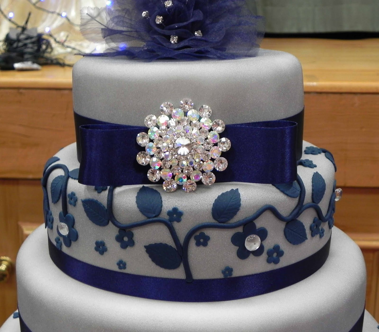 Wedding Cakes Blue And Silver  Cake by Lisa Price Silver and Blue wedding cake