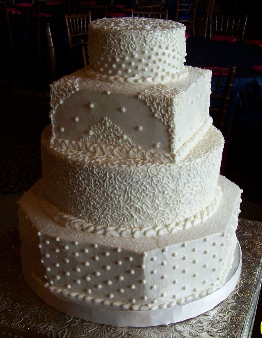 Wedding Cakes Buttercream Frosting  White Wedding Cake 1 CakeCentral