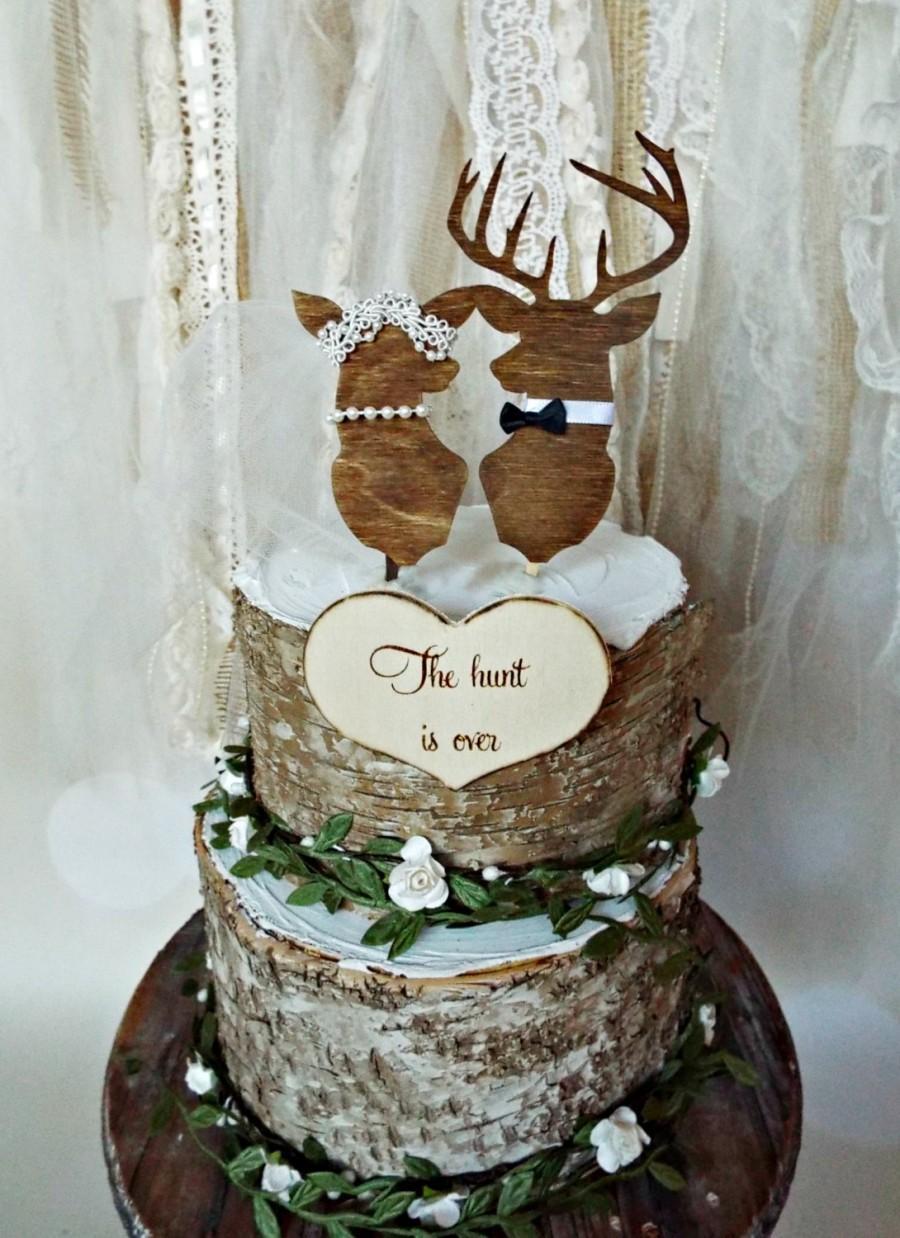 Wedding Cakes Camo  Deer Wedding Buck And Doe Wedding Cake Topper Deer Lover