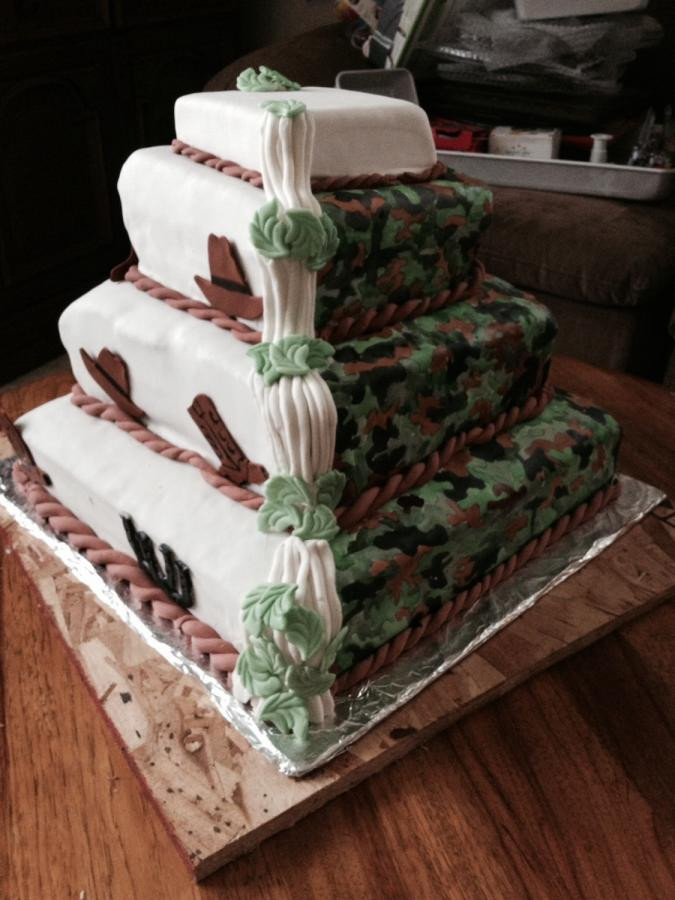 Wedding Cakes Camo  Camo wedding cake cake by Lisa Zaehler Z Kitchen Zink