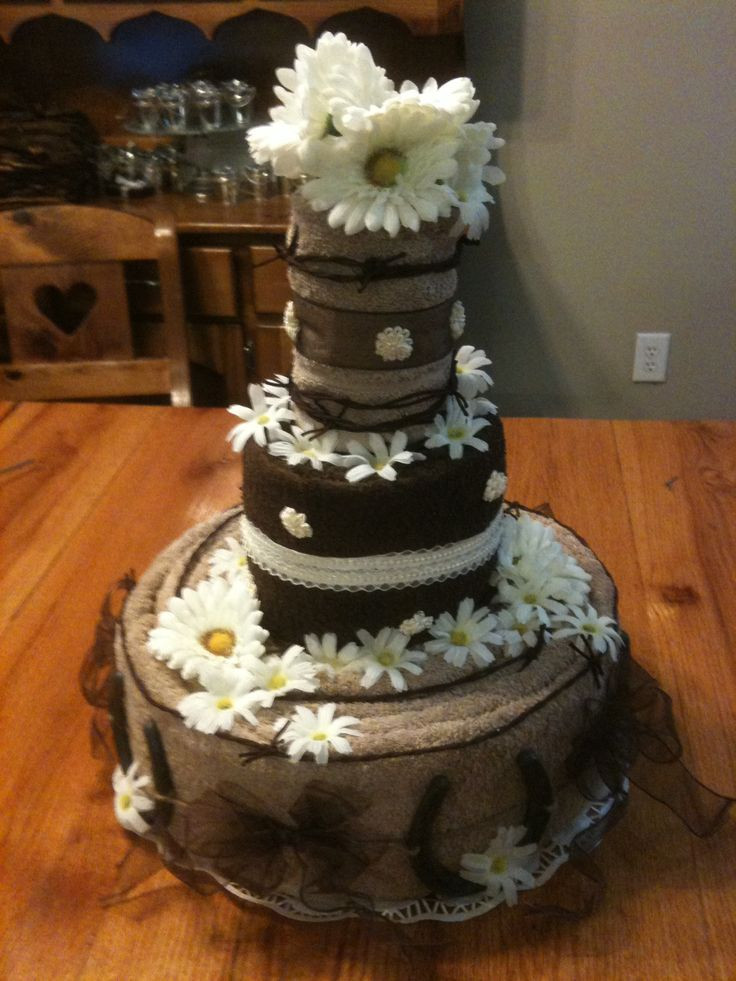 Wedding Cakes Centerpieces the Best Ideas for towel Cake Centerpiece for Rustic Wedding Shower