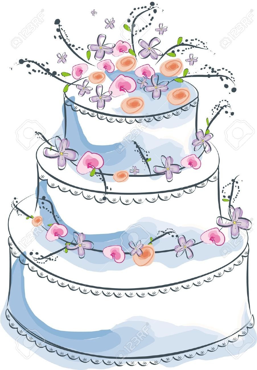 Wedding Cakes Clipart  Wedding Cake clipart cartoon Pencil and in color wedding