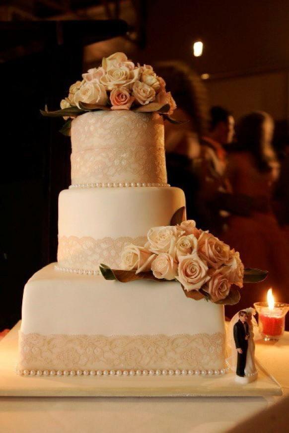 Wedding Cakes Columbus Ga  Cream lace wedding cake with peach roses