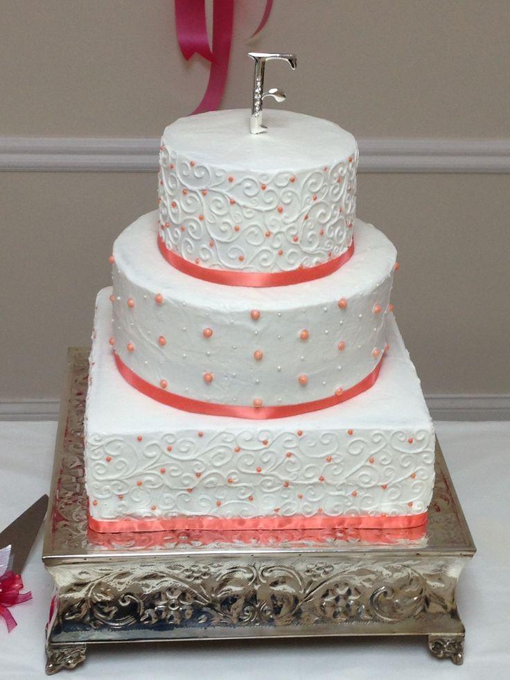 Wedding Cakes Coral  Coral wedding cake Wedding and shower cakes