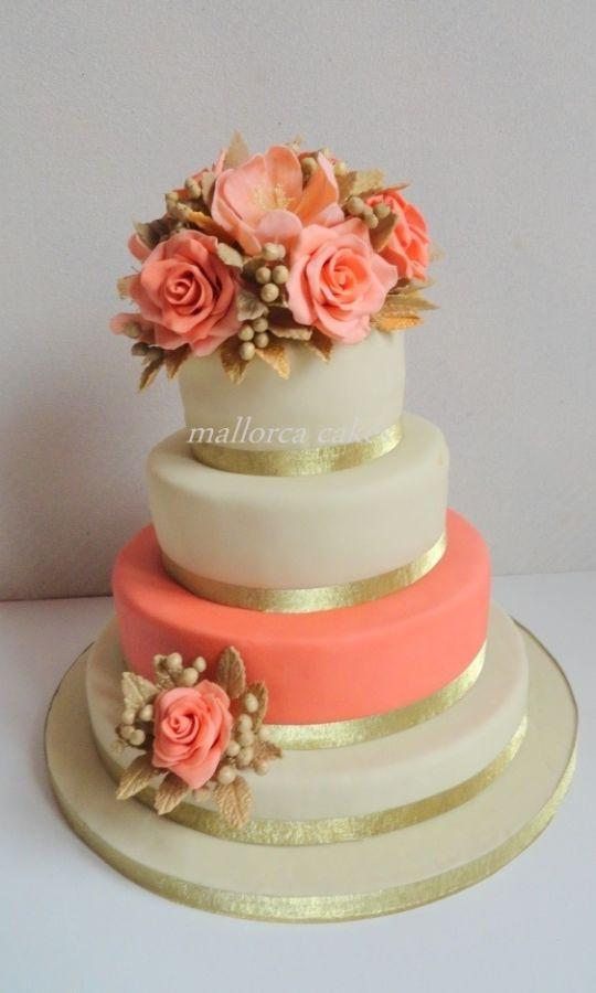 Wedding Cakes Coral  coral peach wedding cake cake by mallorcacakes CakesDecor