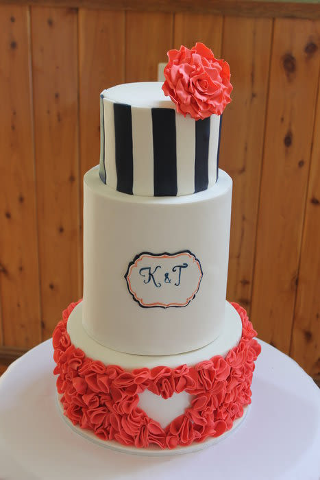 Wedding Cakes Coral  Coral navy and white wedding cake Cake by Kathy Cope