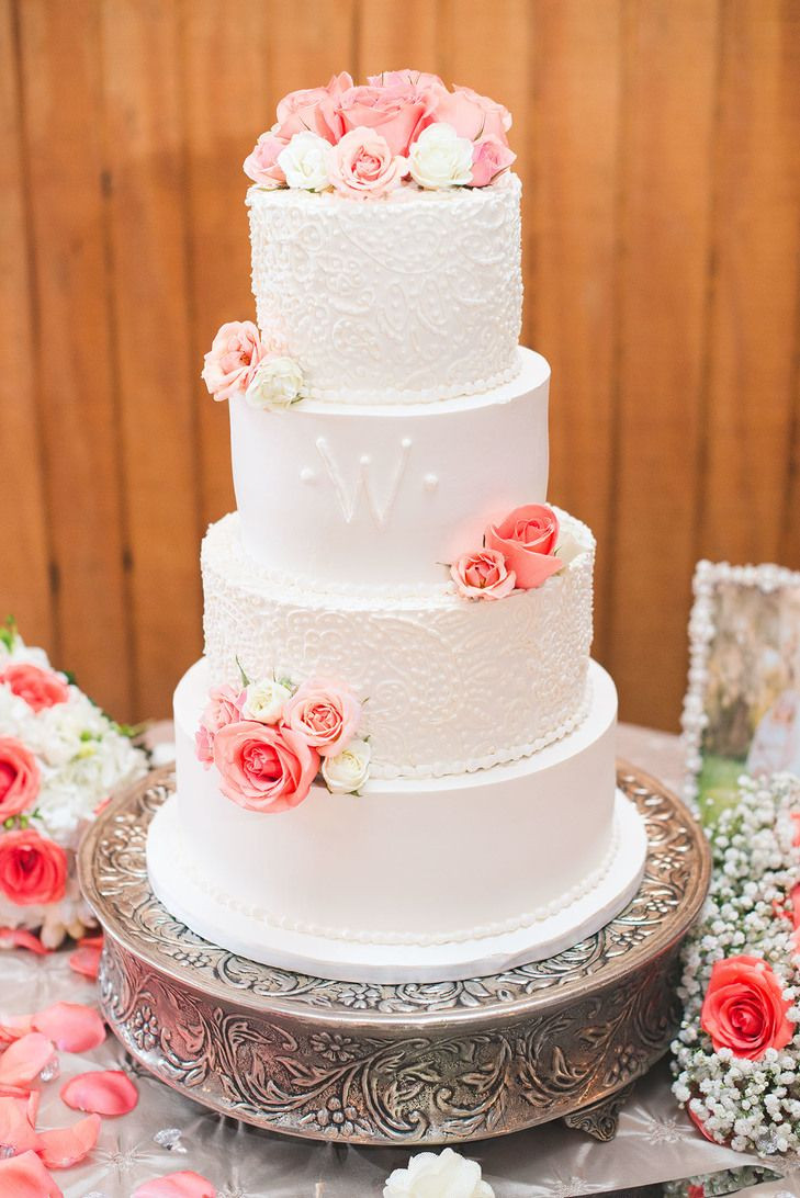 Wedding Cakes Coral  Detailed White Wedding Cake With Coral Roses