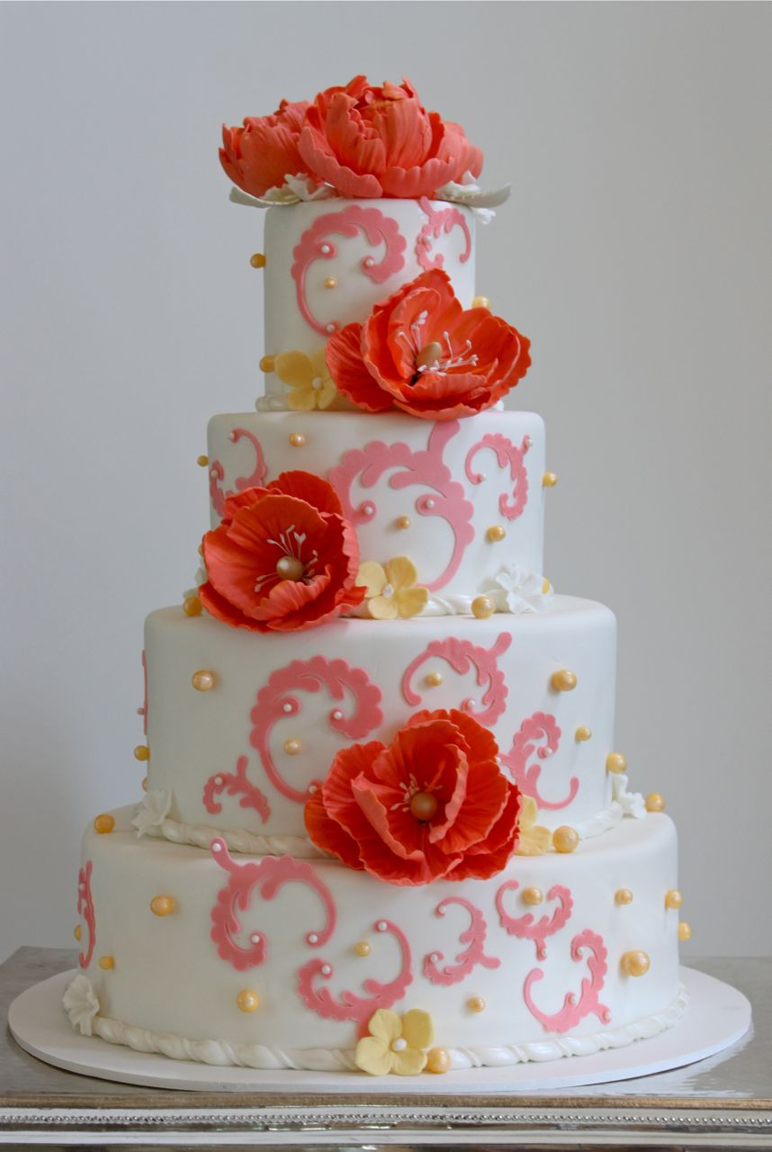 Wedding Cakes Coral  Coral Peony Cake