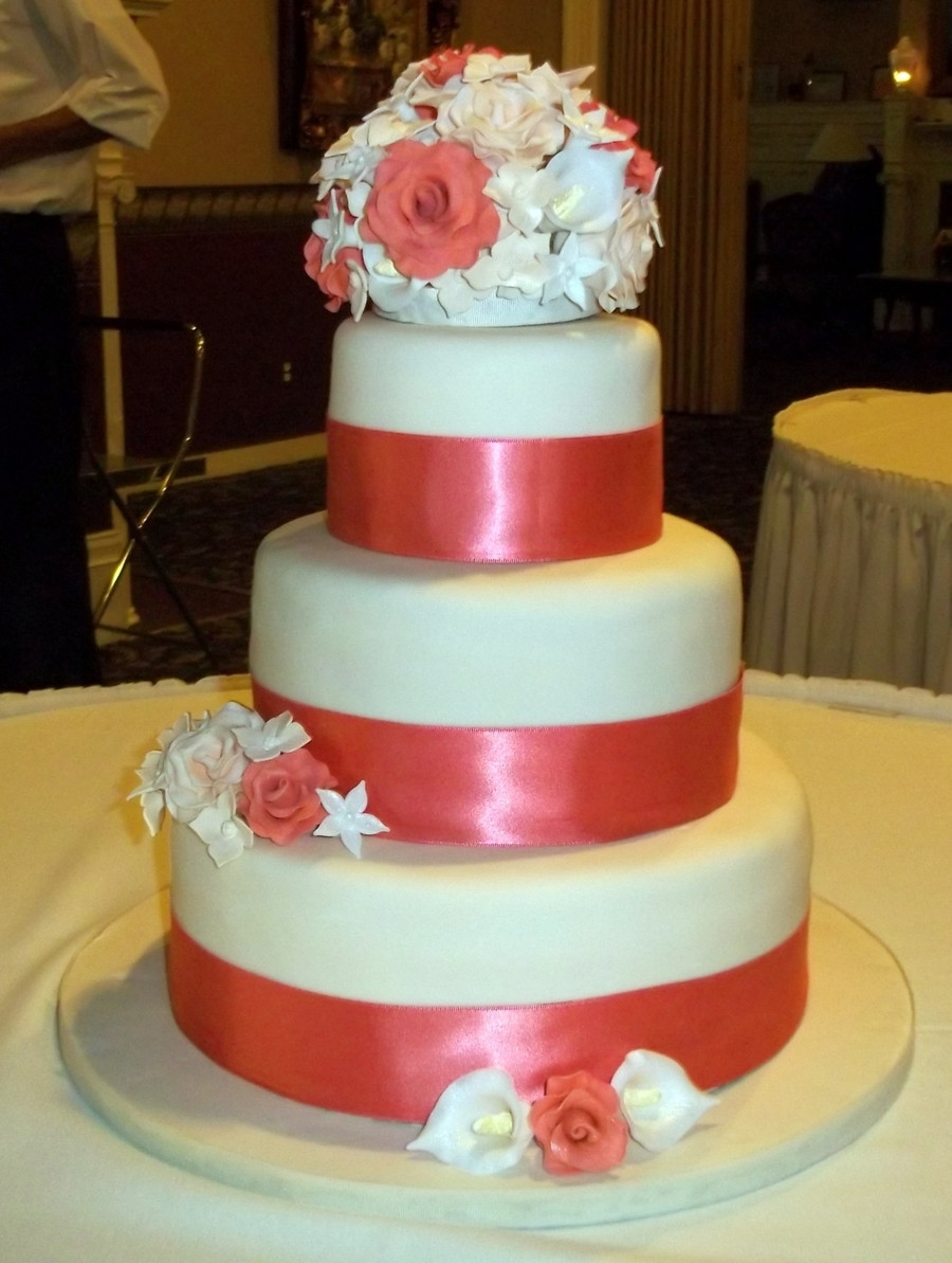 Wedding Cakes Coral  Coral Pink Wedding Cake CakeCentral
