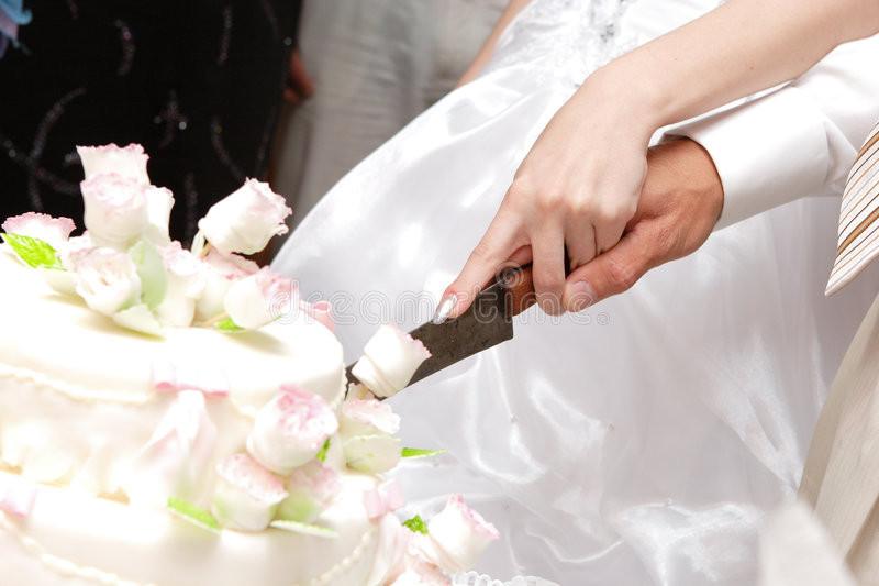 Wedding Cakes Cutting  Cutting A Wedding Cake Stock s Image