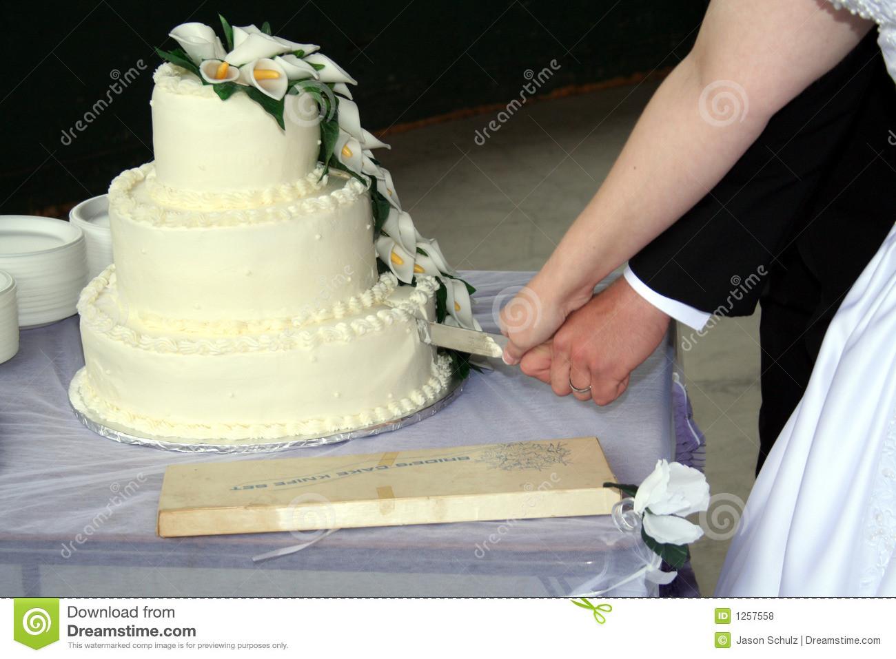 Wedding Cakes Cutting  Bride And Groom Cutting Wedding Cake Royalty Free Stock