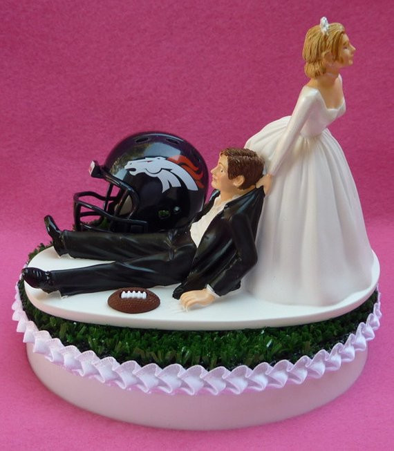 Wedding Cakes Denver  Wedding Cake Topper Denver Broncos Football Themed Sports Turf