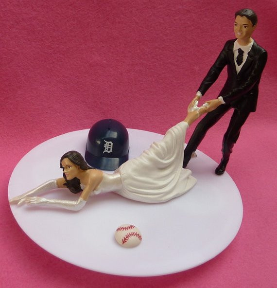 Wedding Cakes Detroit  Wedding Cake Topper Detroit Tigers G Baseball Themed w Bridal