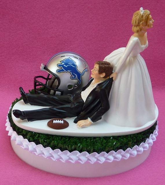 Wedding Cakes Detroit  Wedding Cake Topper Detroit Lions Football Themed Sports Turf