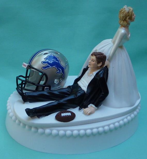 Wedding Cakes Detroit  Wedding Cake Topper Detroit Lions Football Themed w Bridal