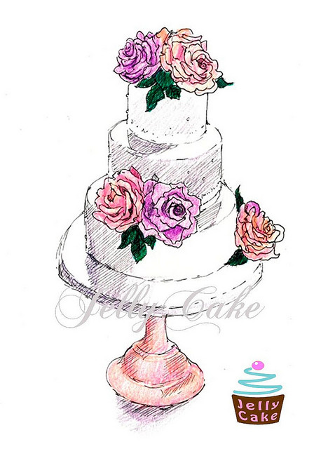 Wedding Cakes Drawings the Best Ideas for Dusky Blooms Wedding Cake Drawing