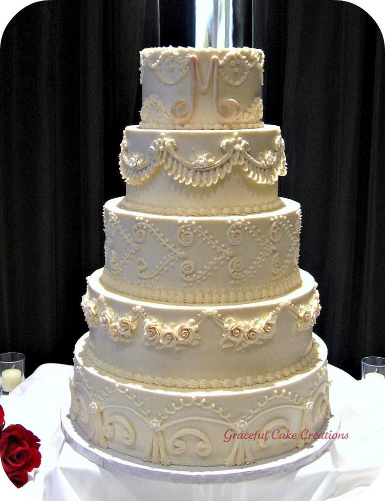 Wedding Cakes Elegant  Elegant Vintage Ivory Wedding Cake a photo on Flickriver