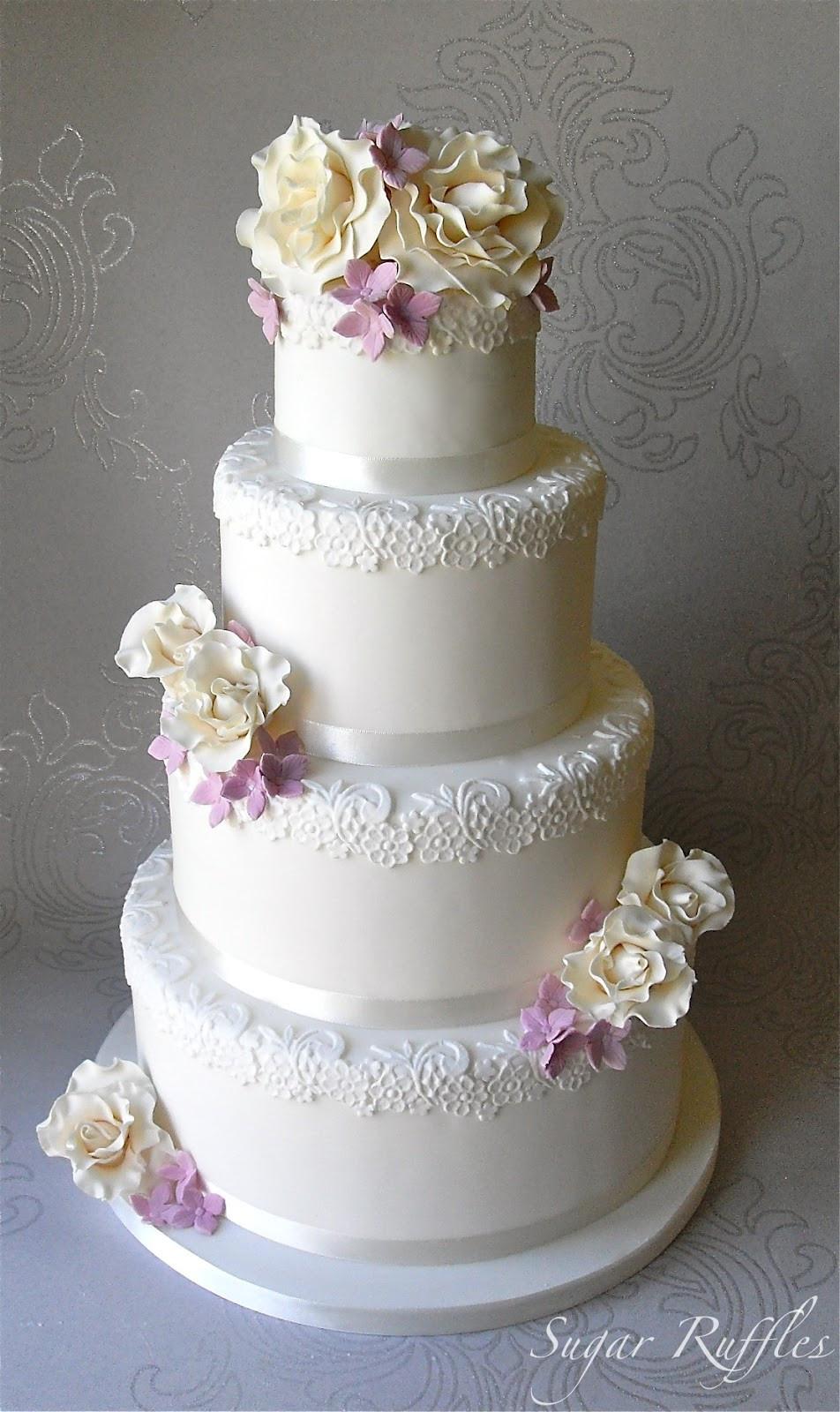 Wedding Cakes Elegant  Roses and Hydrangea Wedding Cake