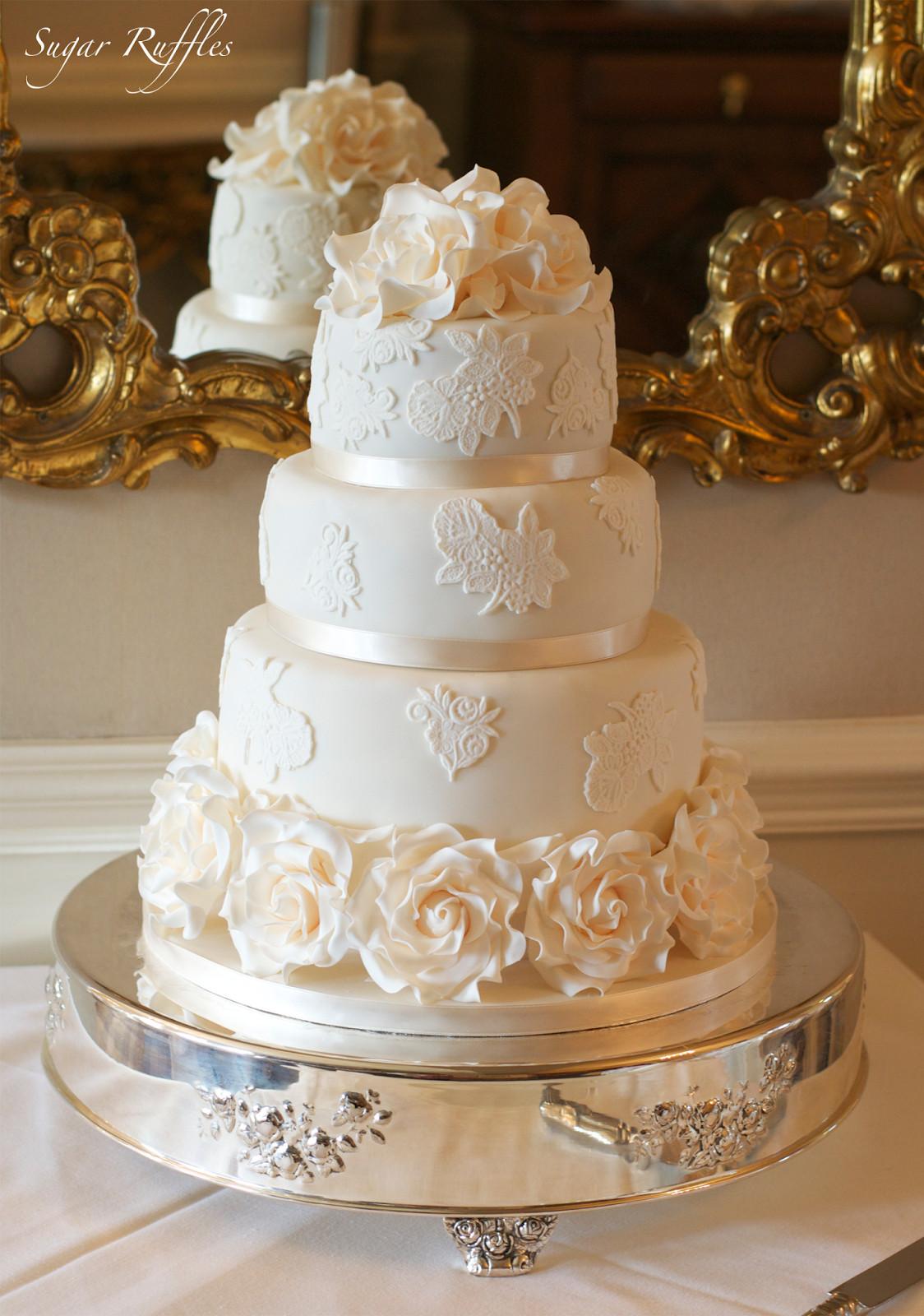 Wedding Cakes Elegant  Wedding Cakes with lace and roses