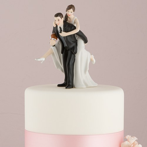 Wedding Cakes Figures  Football Bride and Groom Cake Topper The Knot Shop