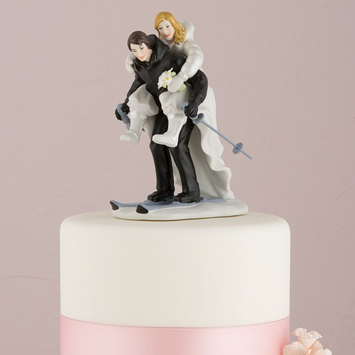 Wedding Cakes Figures  Skiing Wedding Cake Topper The Knot Shop