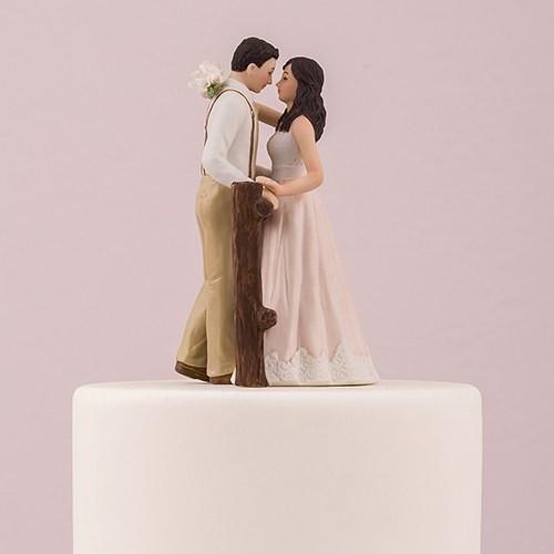 Wedding Cakes Figurines  Rustic Couple Porcelain Figurine Wedding Cake Topper