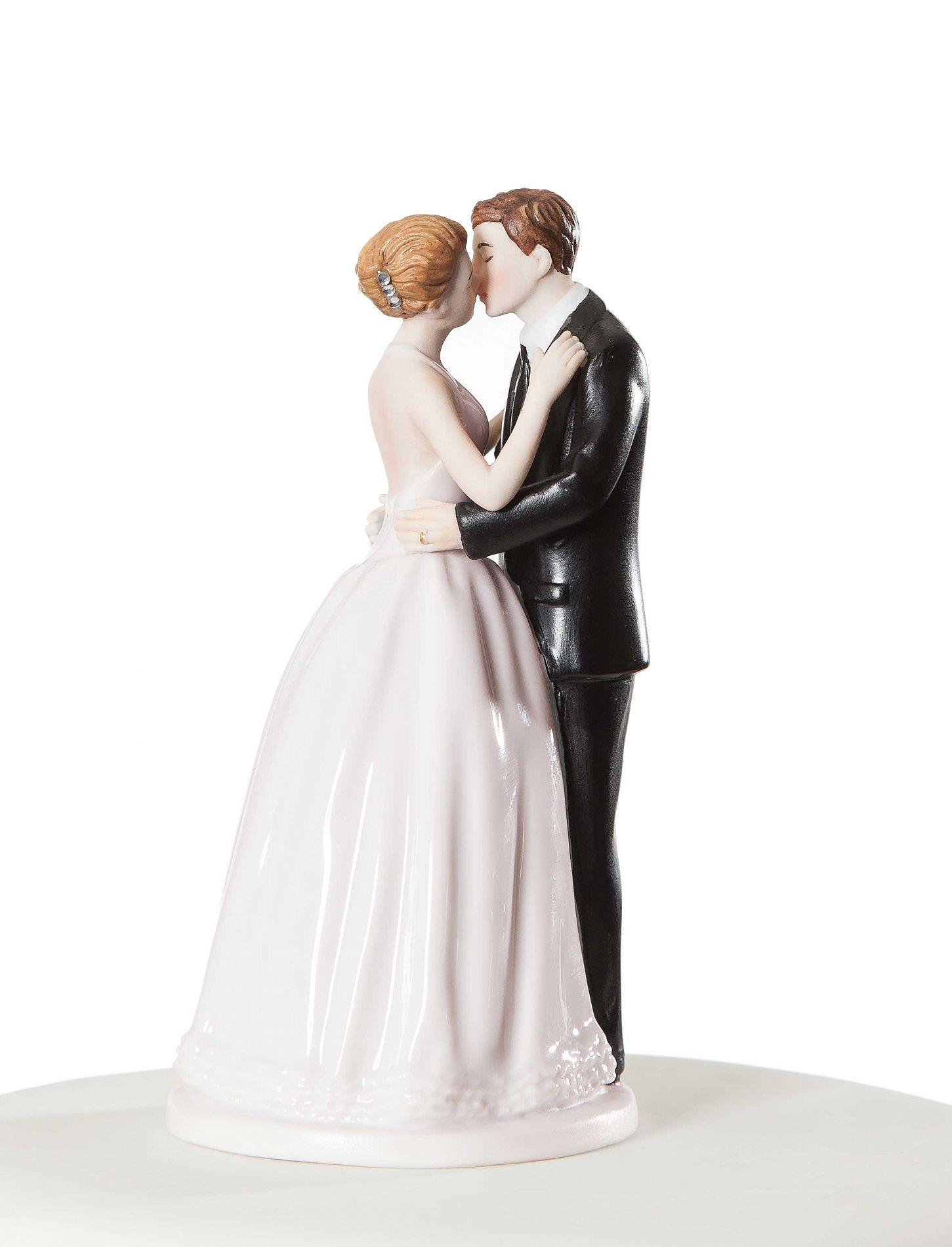 "Wedding Cakes Figurines  ""Romance"" Kissing Couple Wedding Cake Topper Figurine"