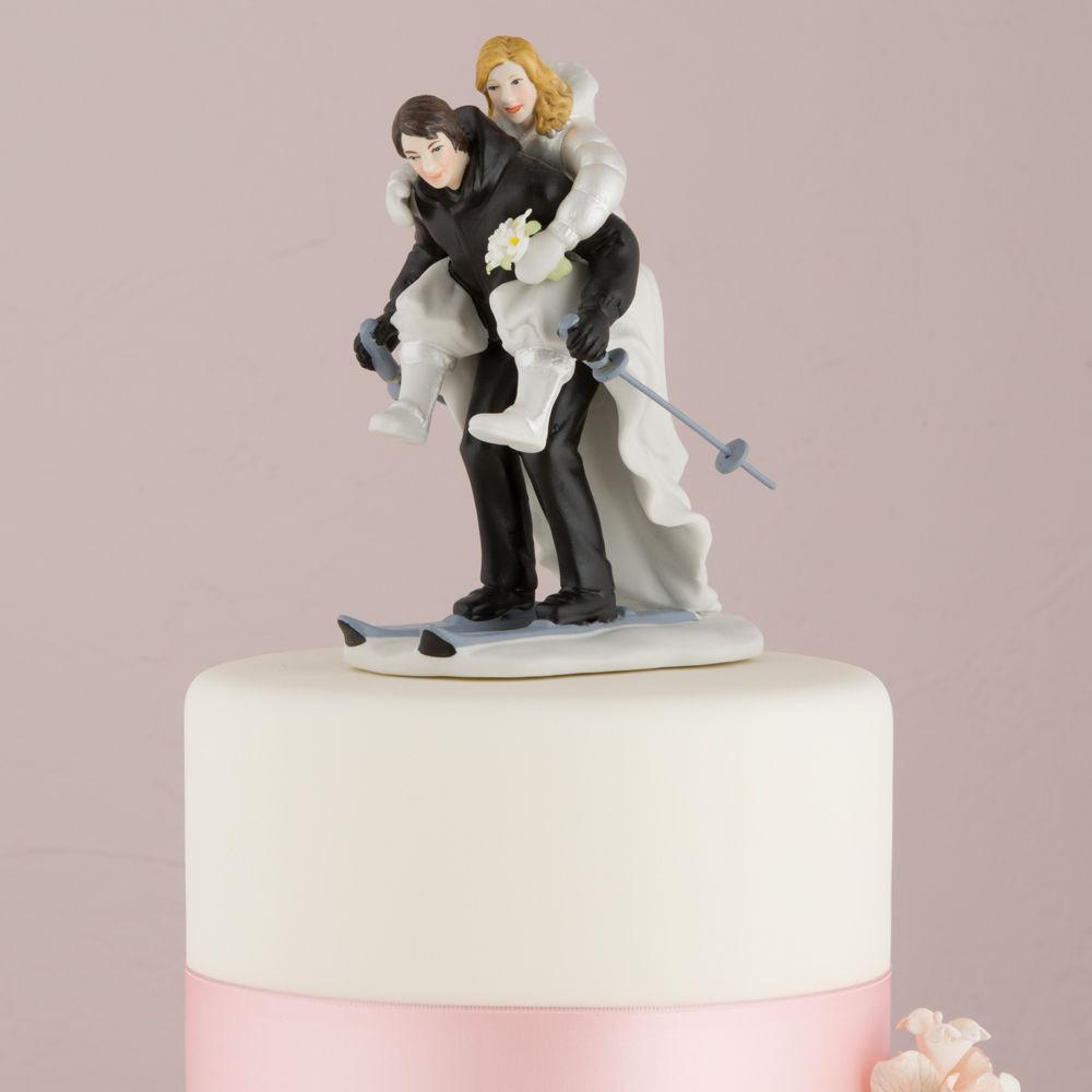 Wedding Cakes Figurines  Winter Skiing Wedding Couple Figurine Skis Cake Topper