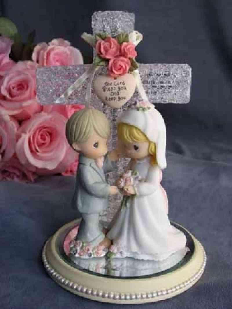 Wedding Cakes Figurines  Precious Moments Forever True Wedding Couple Cross Cake