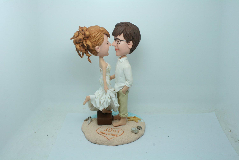 Wedding Cakes Figurines  Beach Wedding Cake Topper Figurine Customize Custom