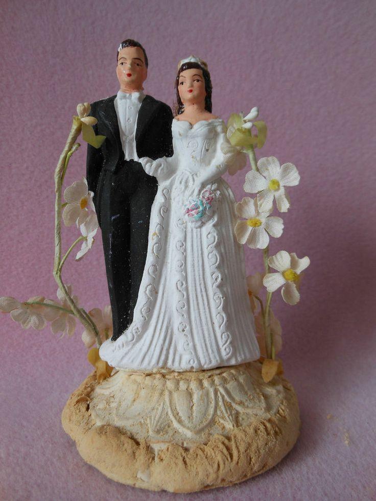 Wedding Cakes Figurines  Vintage Wedding Cake Topper Figurine Bride Groom Plaster
