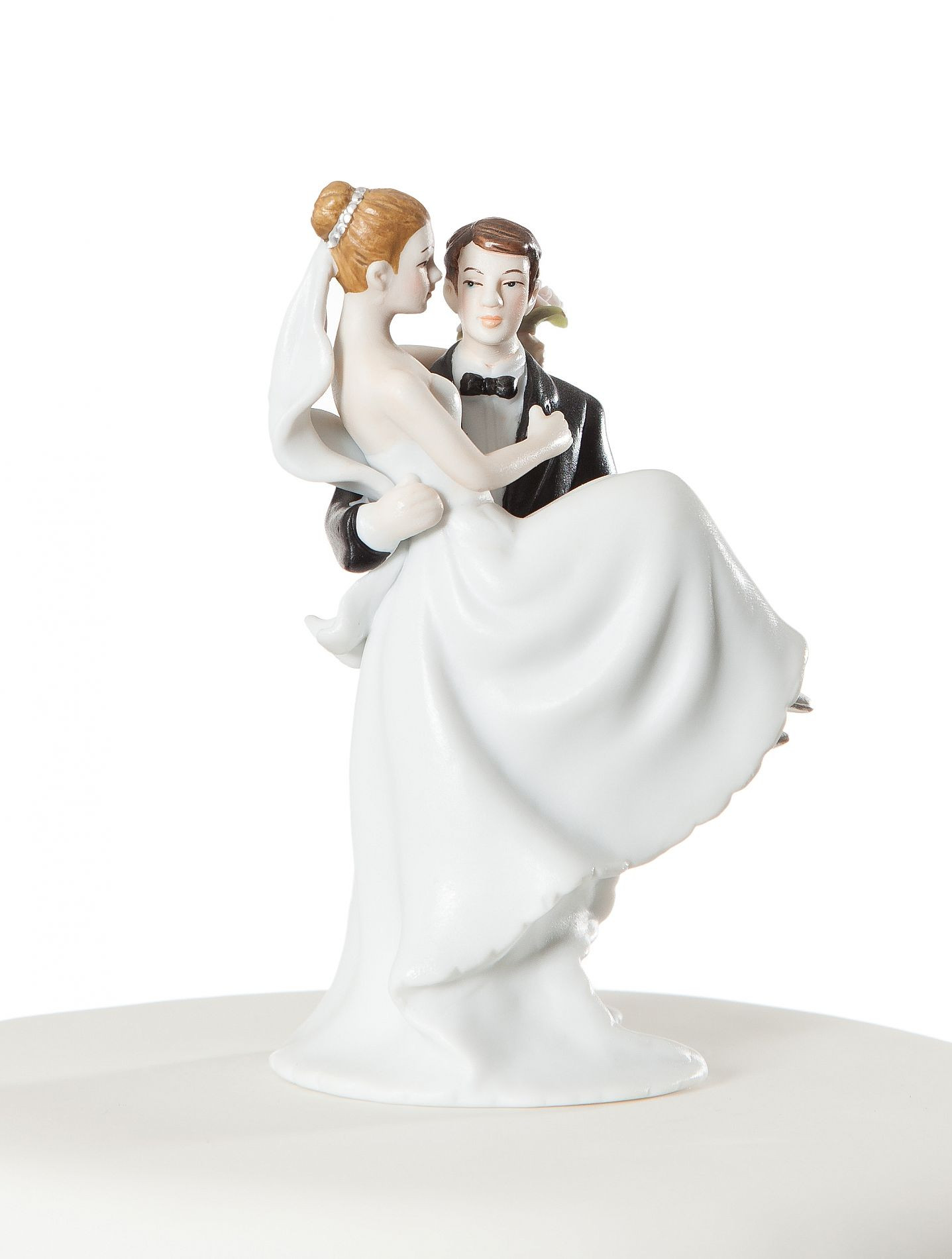 Wedding Cakes Figurines  Small Groom Holding Bride Traditional Cake Topper Figurine