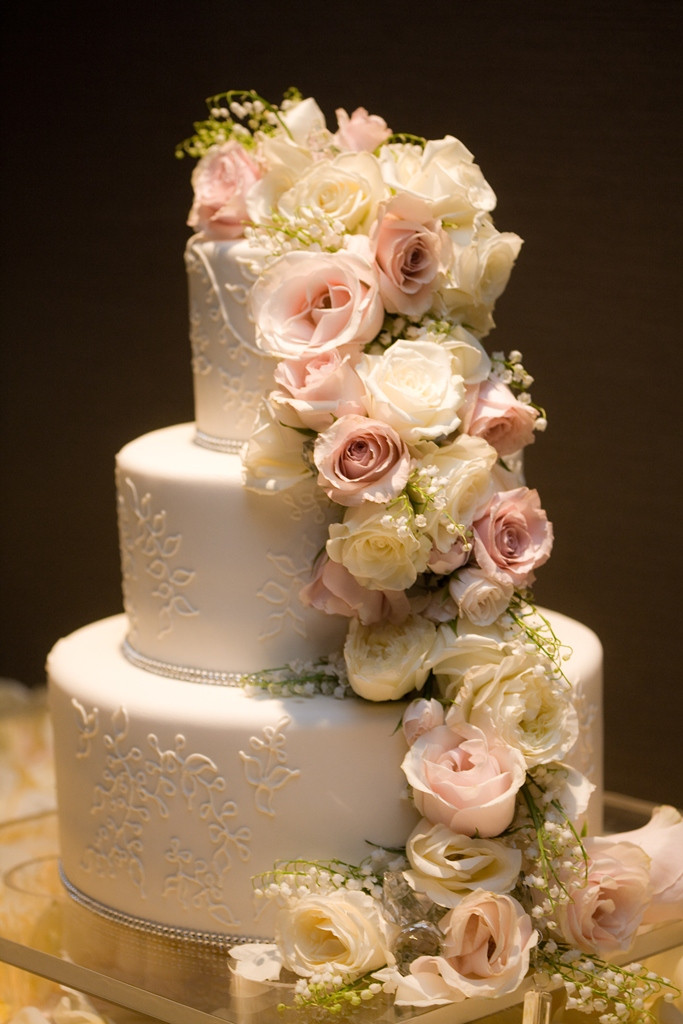 Wedding Cakes Flowers  cocoa & fig Traditional Wedding Cake with Cascading