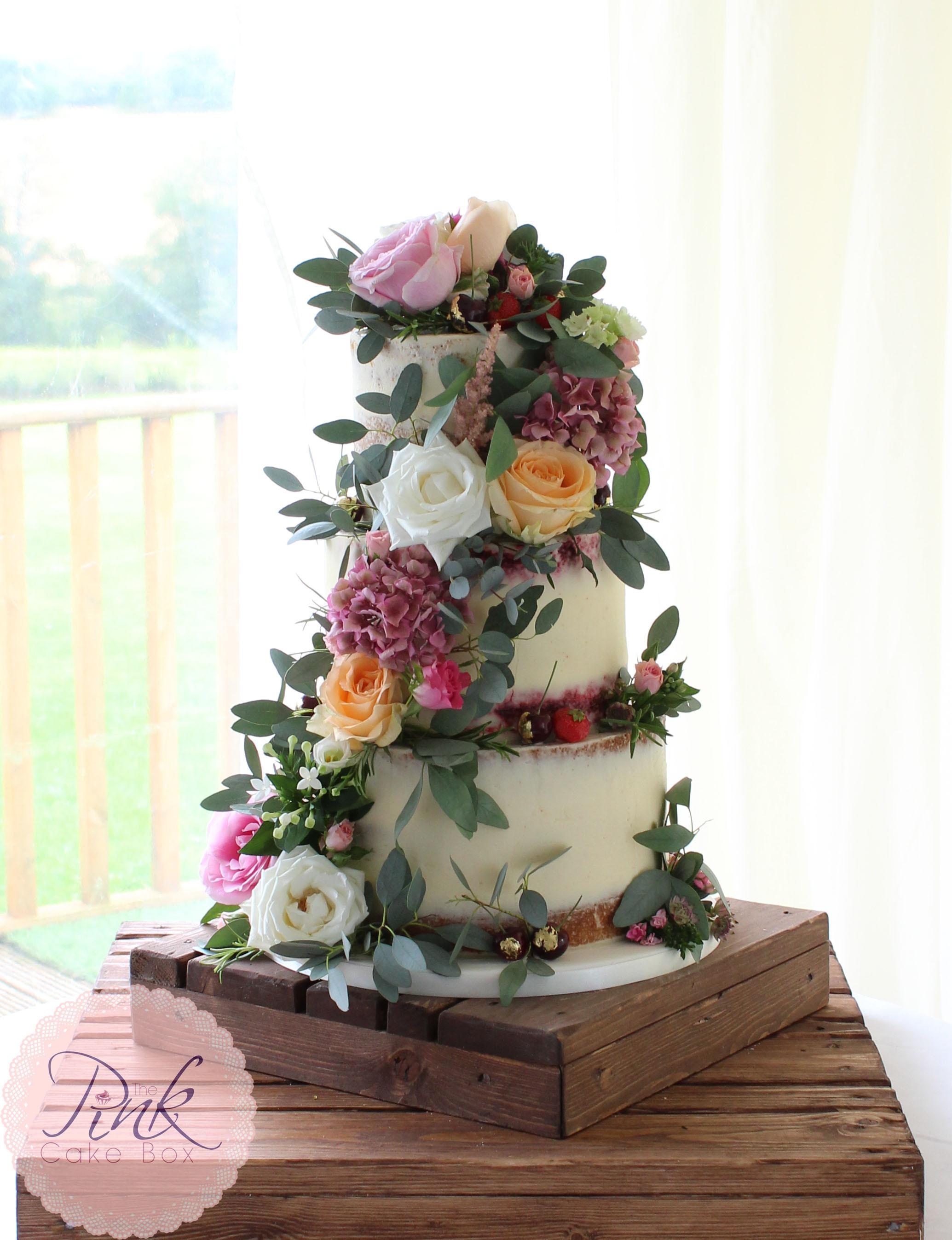 Wedding Cakes Flowers  Semi Naked Wedding Cake with fresh flowers