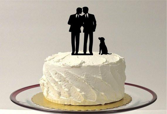 Wedding Cakes Gay  MADE In USA Gay Wedding Cake Topper DOG Same Cake