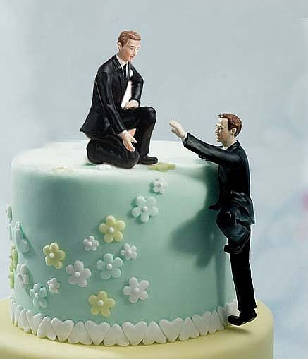 Wedding Cakes Gay  Gay Cake Topper Climbing Groom and Helpful Groom Mix
