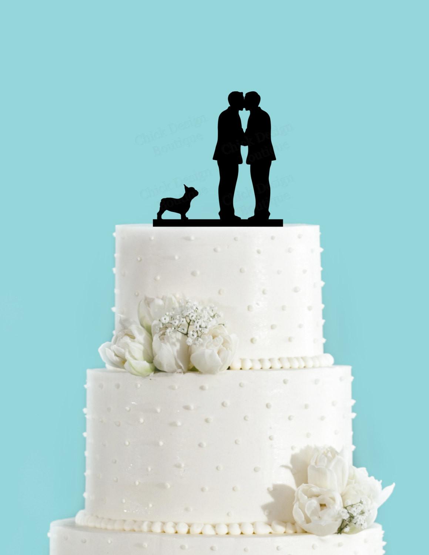 Wedding Cakes Gay  Groom and Groom Couple Kissing with French Bulldog Gay Wedding