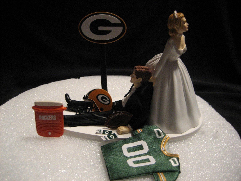 Wedding Cakes Green Bay  Green Bay Packers Wedding Cake Topper Bride Groom Jersey